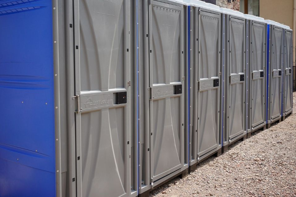 Picture of a row of portable toilets