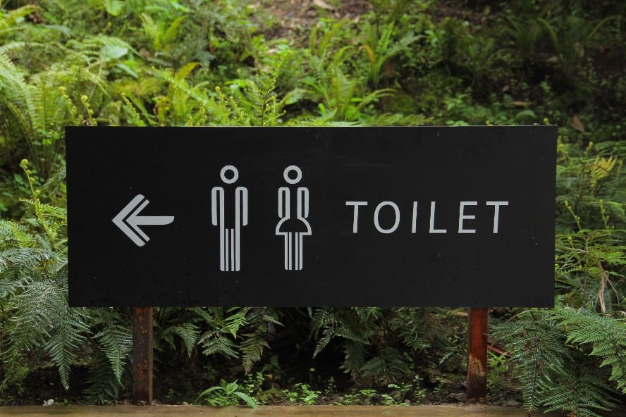 Photo of outdoor sign for portable restrooms